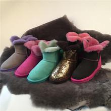 2016 Trébol de La Manera de piel de oveja botas de nieve calientes zapatos envío directo de la fábrica del envío libre al por mayor tienda y más países(China (Mainland))
