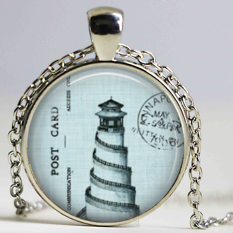 Free shipping Vintage Lighthouse necklace Nature Marine Ocean Sea Beach Pendant Light Blue Lighthouse Charm pendant jewellery(China (Mainland))