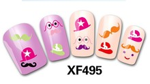 Min.order is $10 (mix order)XF495 3D monster pattern series Nail Sticker