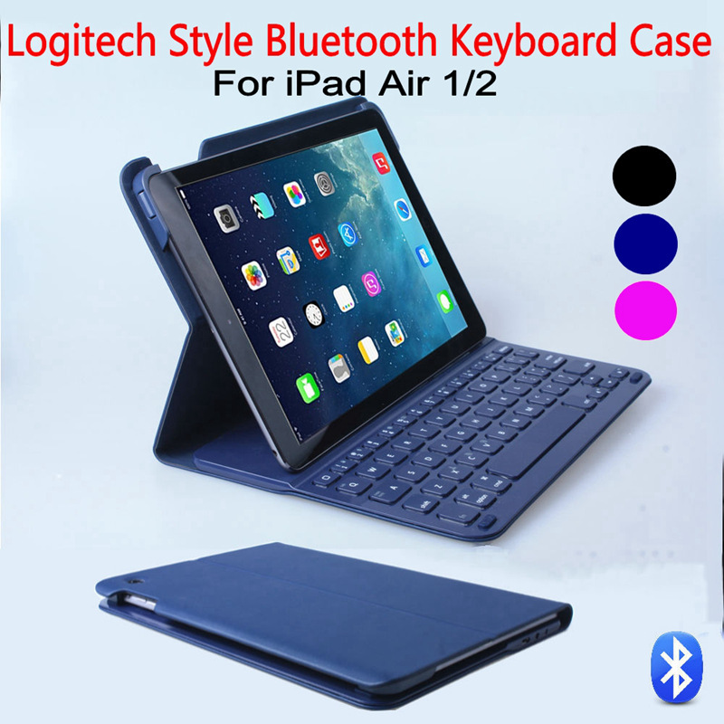 For iPad Air/Air 2 Ultrathin Logitech Style Wireless Bluetooth Keyboard Folio Protective Case Cover Stand+Glass Screen Protector(China (Mainland))