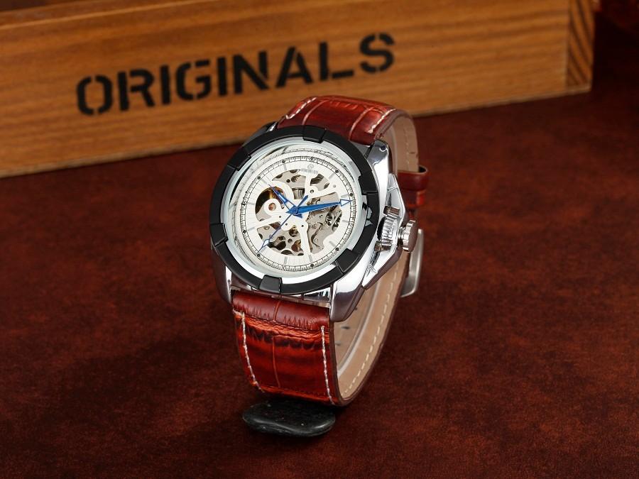 ГРУ марка кожа техника мужской Наручные часы мужские Автоматические Часы мода Скелет водонепроницаемый Световой