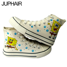 JUP Men Boy Fashion Lovers Female Footwear Adult Hand Painted Canvas Shoes Applicable Crowd Men Males Anime Spongebob Baby Shoes(China (Mainland))