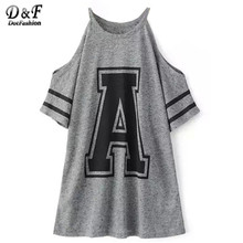 2016 Casual Korean Style Designer Brand Women's Tops Short Sleeve Grey Cold Shoulder Crew Neck Letter Print Loose T-Shirt(China (Mainland))