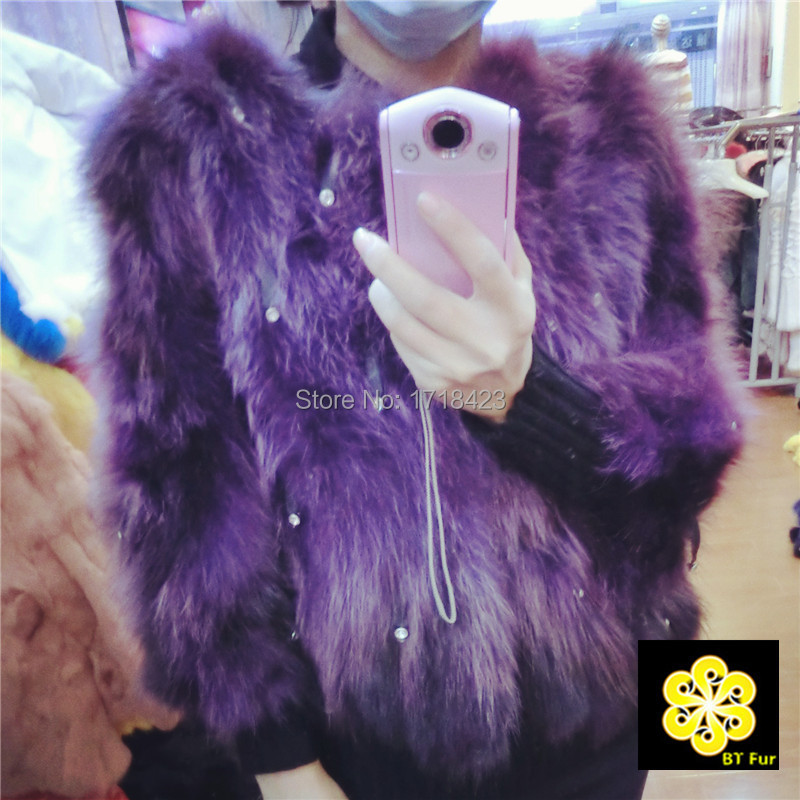 Korean fashion real raccoon fur short coat jacket elegant women diamond charm design female coats slim lady outwear - BT Fur NO1 store