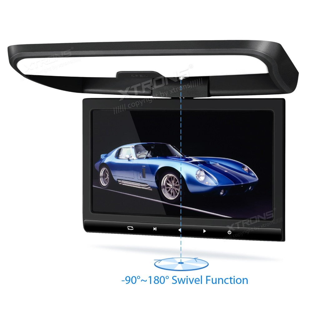 "10.1"" Black Color HD Digital 16:9 TFT Monitor Car Roof DVD Player Flip down radio Sleek Touch-Panel with 2 IR/FM Headphones(China (Mainland))"