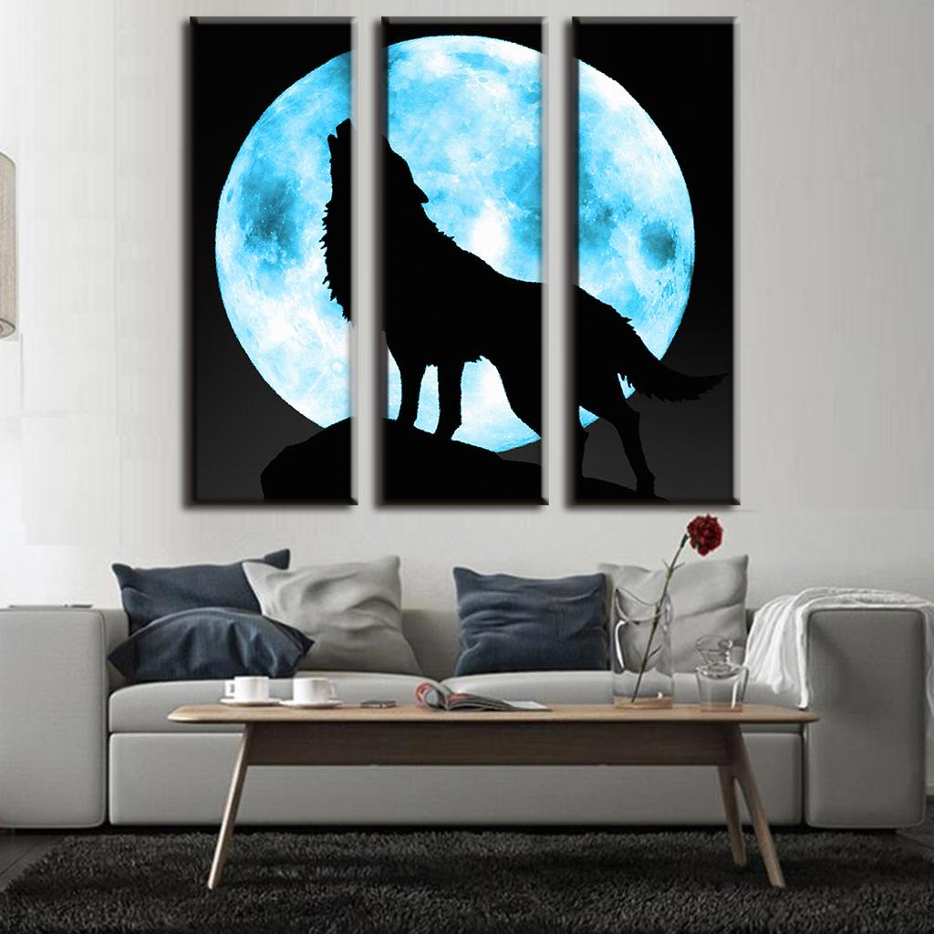 Modern 3 Pcs/set Animal Wolf Painting For Living Room Full Moon With the Lone Wolf Painting Prints on canvas Boys Room Decor(China (Mainland))