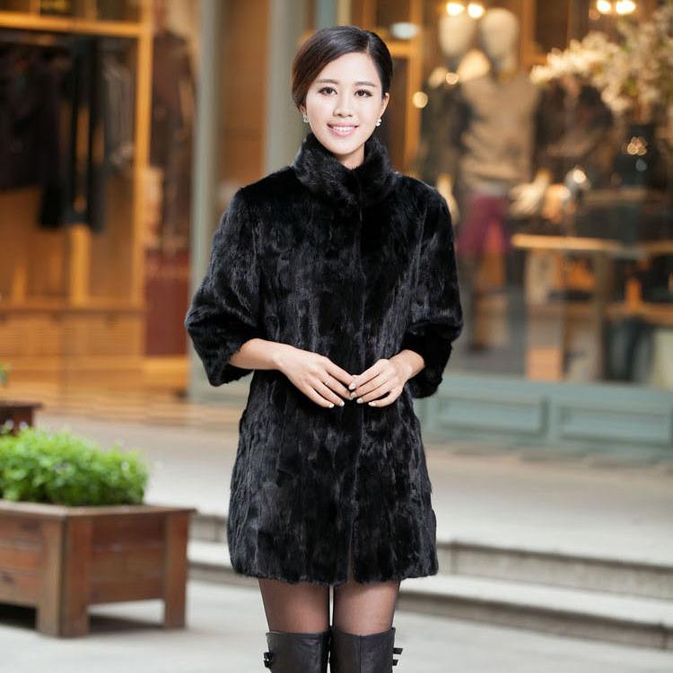 Fur Story 15128 New Women's 2015 Fashion Winter Genuine Mink Fur Coat Female Real Fur Women 5XL Plus Size Warm Long Overcoat(China (Mainland))