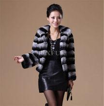 Graceful Womens Genuine Rex Rabbit Fur Coat Imitation Chinchilla Jakcet Turn-down Collar Winter Stripe Overcoat LX00029(China (Mainland))