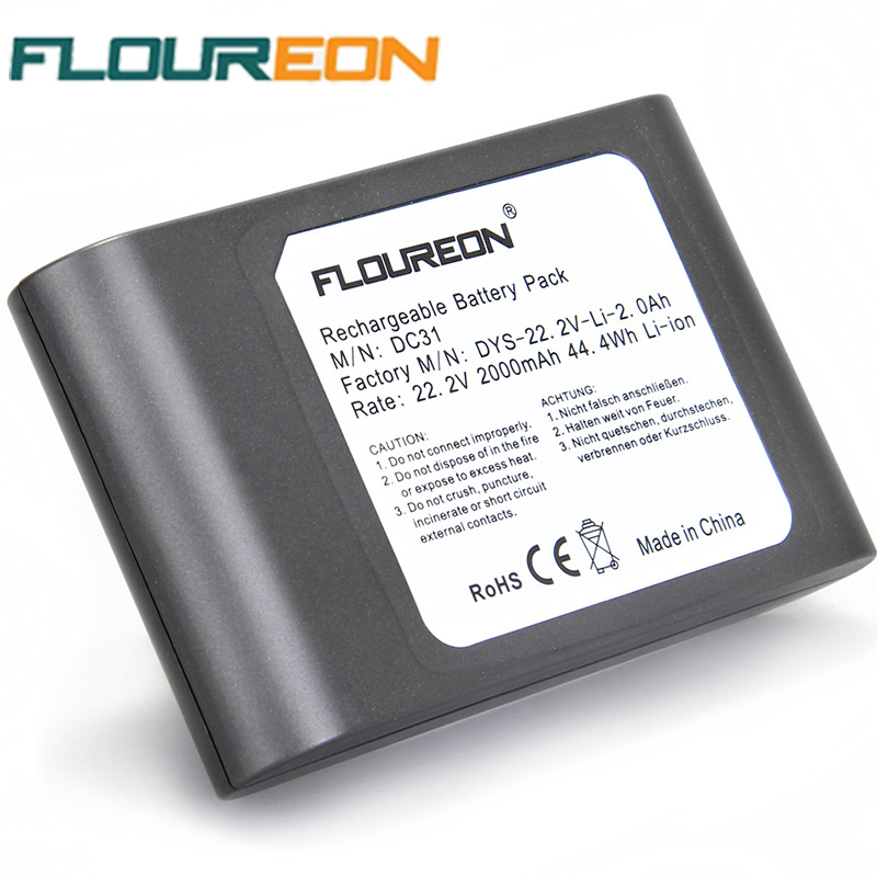 FLOUREON 22.2V 2000mAh Rechargeable Battery 6-Cell for Dyson DC31 DC34 DC35 17083 Handheld Li-ion Vacuum Cleaner Battery(China (Mainland))