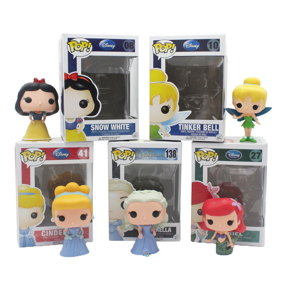 Funko Pop Princess Cinderella Tinker Bell Ariel Snow White PVC Anime Movie Vinyl Cute Action Figure Collection Kid's Gifts Toys(China (Mainland))