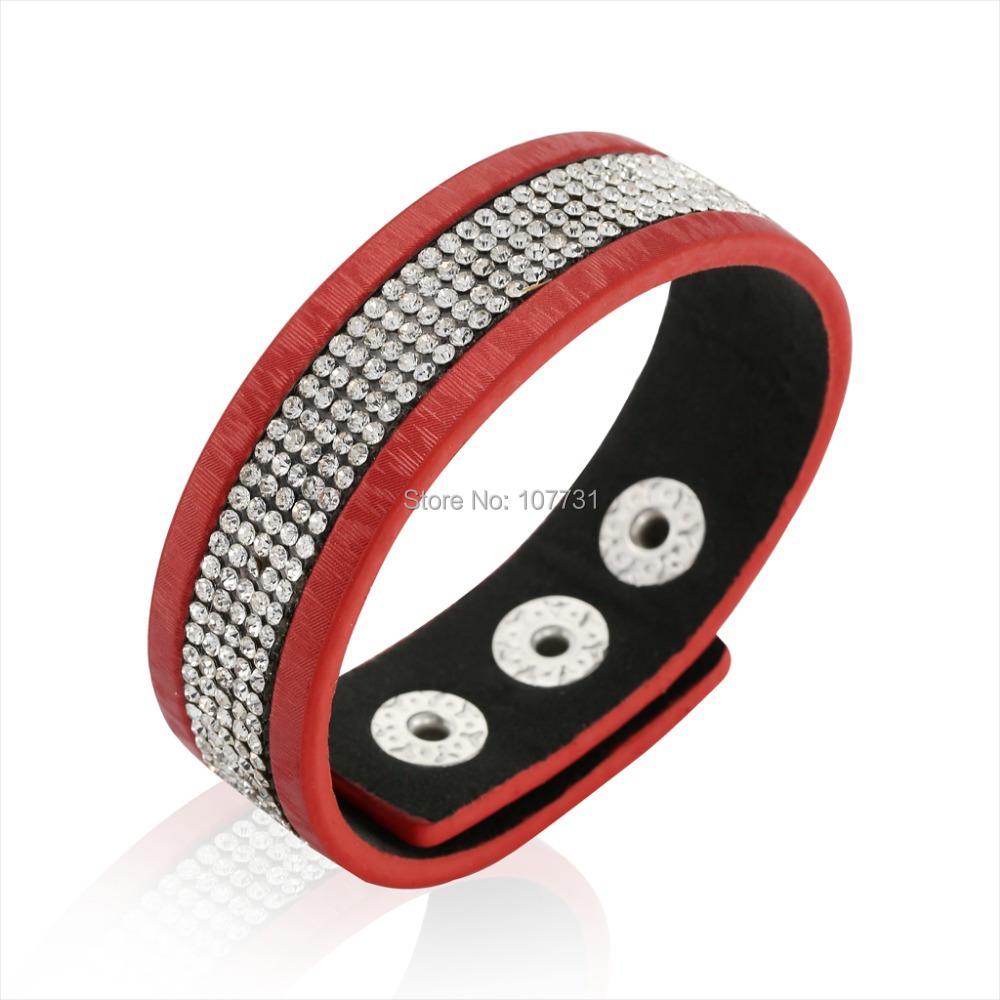 Fashion New Women Men Bracelets Leather Wide Punk Full Rhinstone Luxury Bangle Statement Jewelry - W-Watch store
