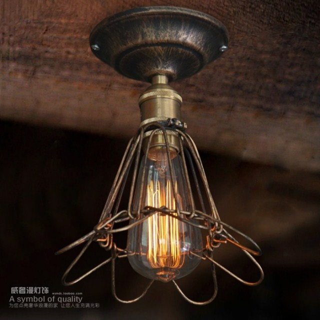 Фотография 2014 New Industry Lustre Iron Wire Cover Vintage Ceiling Light  For Home Modern Bar Coffee X8083 1Pc