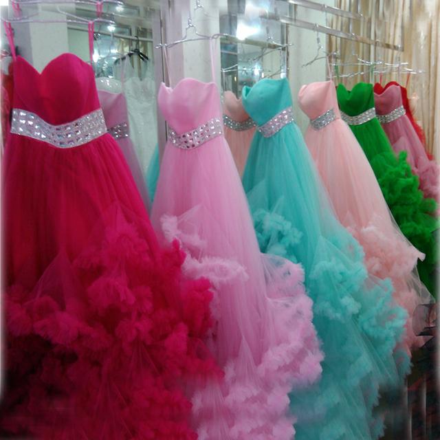 Дешевые свадебные платья 2016 продажа красочные пухлые Жилетido Noiva долго рюшами ...