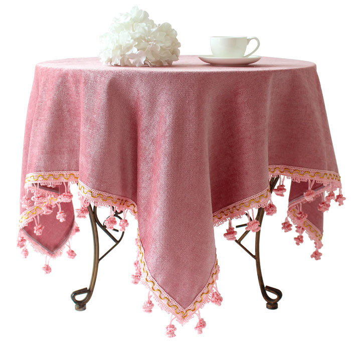 stylish pink table cover cloth with tasseled trim edge