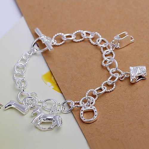 H074 925 sterling silver bracelet, 925 sterling silver fashion jewelry Horse Hoof Bracelet /aceaitla bogakfna(China (Mainland))