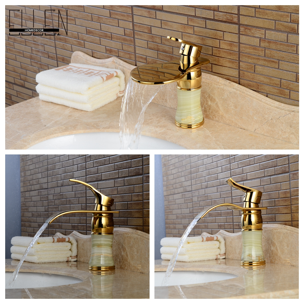 Luxury Gold Waterfall Bathroom Faucet Jade Body Hot Cold Water Mixer Tap Solid Brass(China (Mainland))