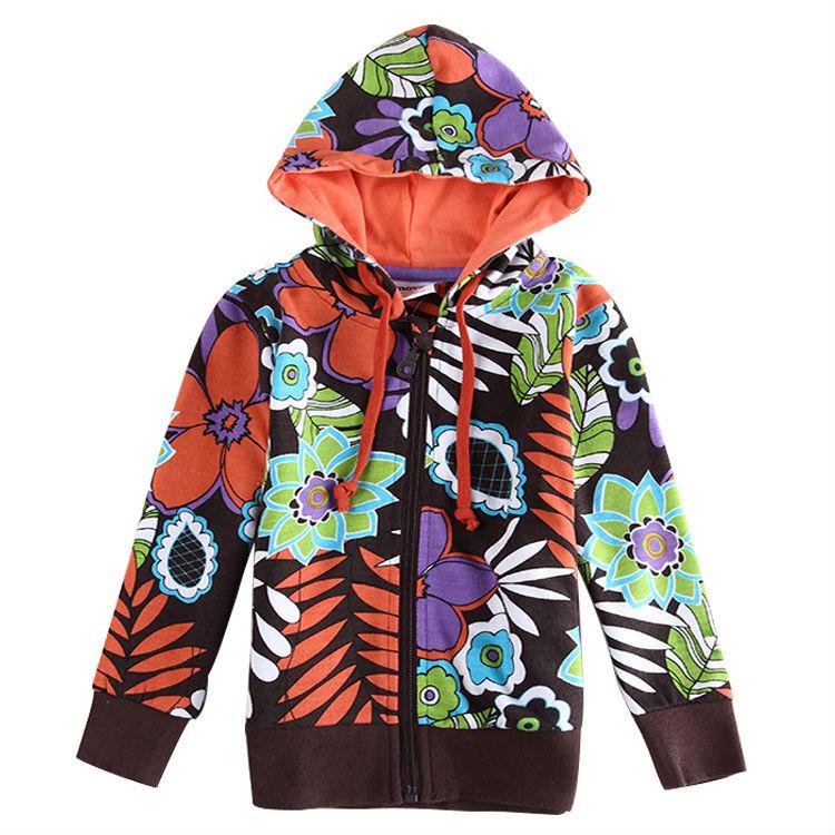 one piece retail nova brand print flower long sleeve girl coat for girl jackets fashion style(China (Mainland))