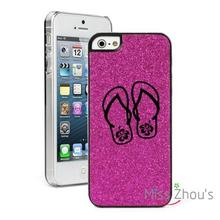 For iphone 4/4s 5/5s 5c SE 6/6s 7 plus ipod touch 4/5/6 back skins cellphone cases cover Glitter Bling Flip Flops with Hibiscus
