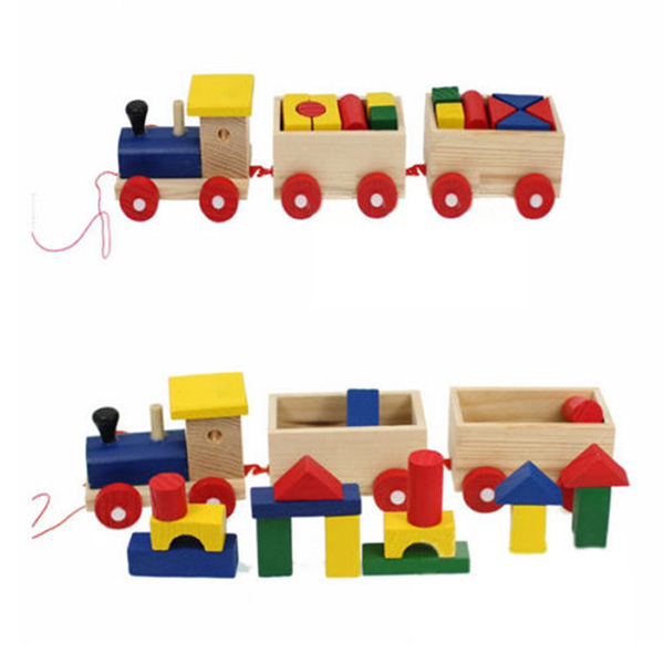 Fun Kids Baby Developmental Toys Toddler Wooden Train Truck Set Geometric Blocks Gift(China (Mainland))