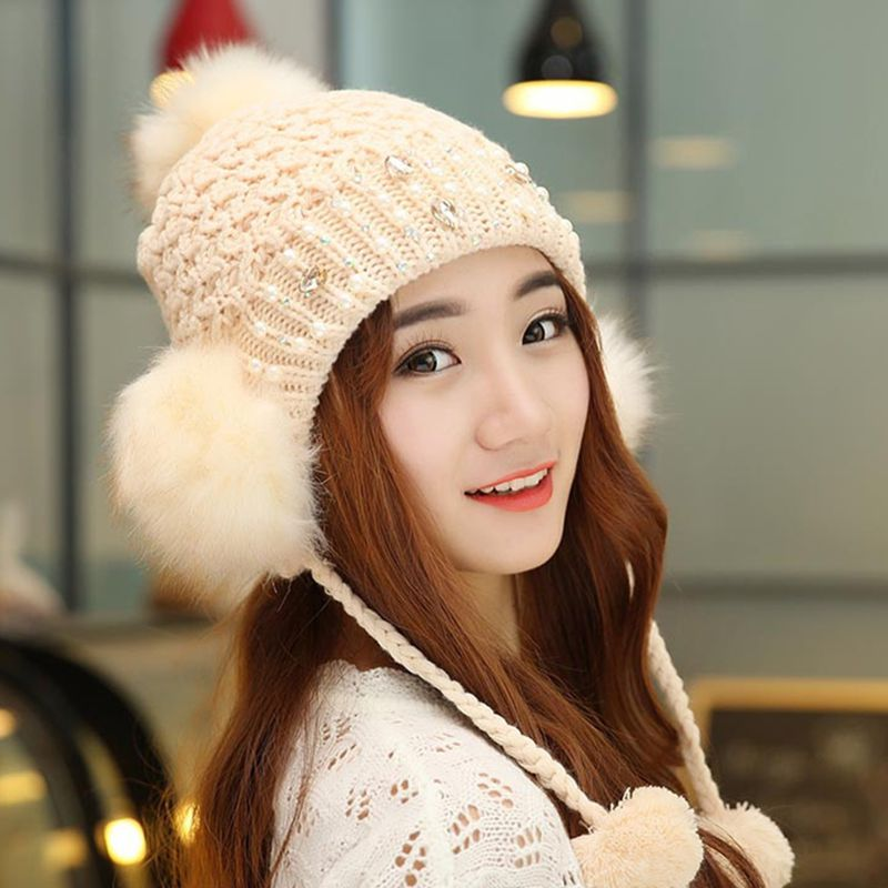 Bonnet Femme 2015 Winter Women Beanies Faux Fur Pom Pom Cotton Knitted Hat With Pearly Diamond Decoration Ear Protective Gorro(China (Mainland))