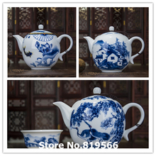 Real Jingdezhen Blue and white ceramic teapot 300ml chinese porcelain kung fu tea set drinkware pot infuser service