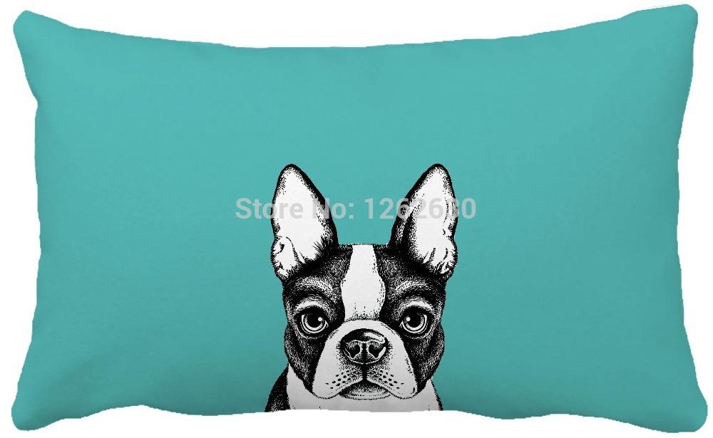 30cmx50cm Black Cute Bulldog Pet Art Print Custom Home Decor Throw Pillow almofadas decorate pillow sofa chair cushion()