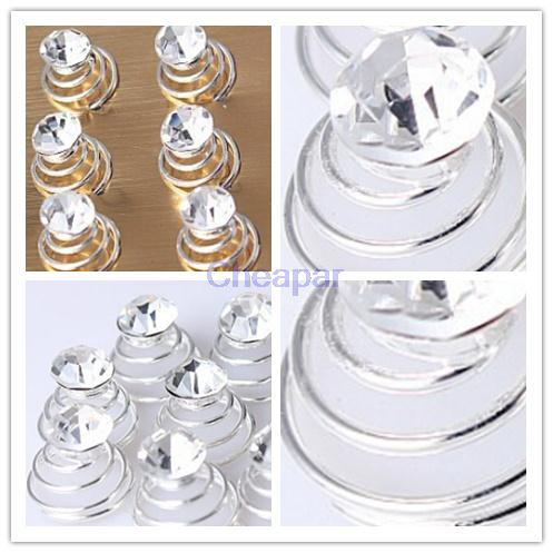 High Quality 6Pcs Hair Accessories Silver Clear Crystal Hairpins Coil Swirl Spiral Twist Pin Elegant Wedding Bridal Prom Jewelry(China (Mainland))