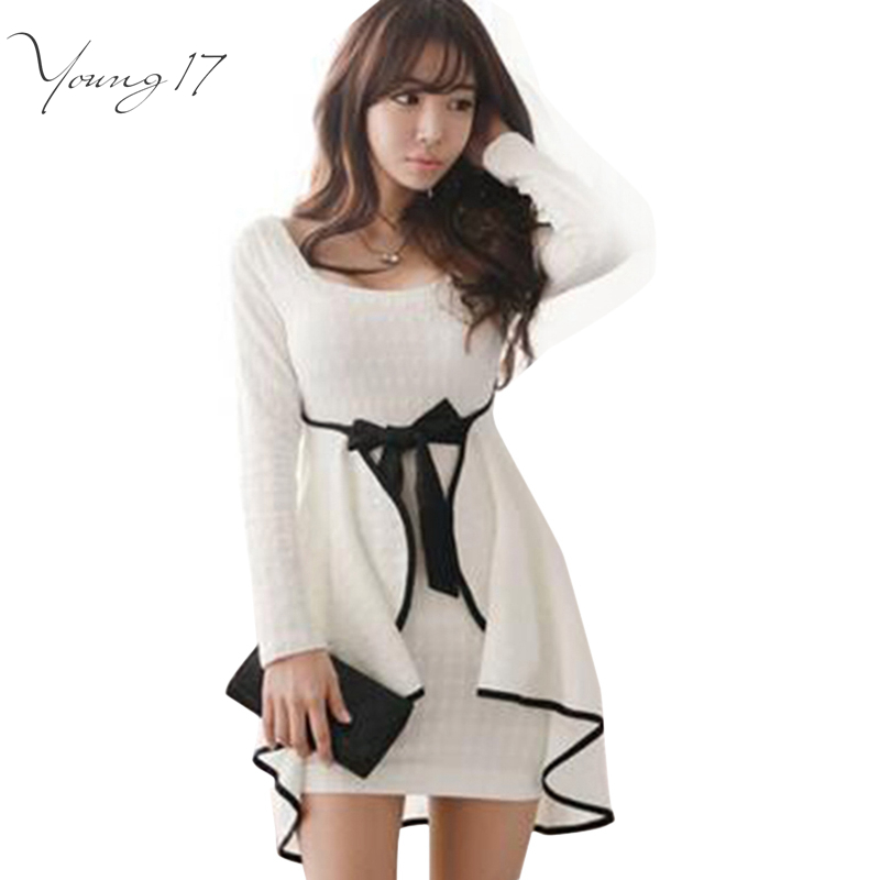 Young17 Sexy Ruffles Bodycon Dress South Korean Style White Women Dress Full Sleeve Autumn Spring Mini Dress Vestidos with Bow(China (Mainland))