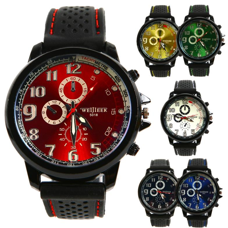 High Quality New Fashion Casual Men Sport Military Wristwatch Silicon Strap Analog Men Quartz Watch L05507