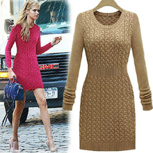 Free shipping  new round collar cultivate one's morality show thin waist twist restoring ancient ways long-sleeved sweater dress(China (Mainland))