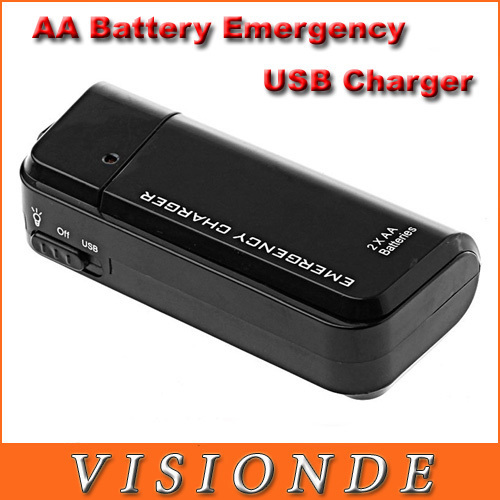 Mobile Phone Chargers AA Battery Emergency USB Charger With Flashlight For iPhone 4G 3G 3GS ipod Black Free shipping(China (Mainland))