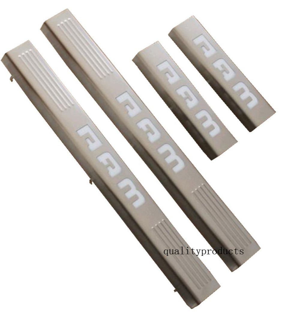 LED light 4 Door Stainless Steel Scuff Plate Door Sill Entry Guard for Dodge Ram 1500 2500 Car styling(China (Mainland))