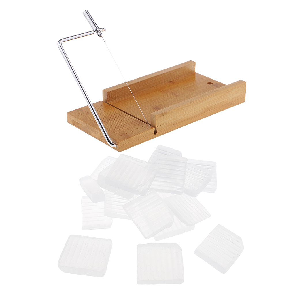 Wooden Soap Cutter Cutting Tools Loaf Mould Soap with Wire Slicer 1 KG Clear Melt & Pour Soap Base for DIY Candle Soap Making