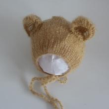 Baby photography props mohair hat bear cap for newborn babies mohair bonnet photo props