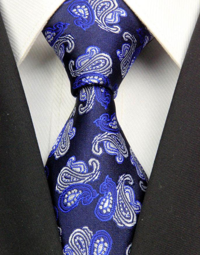 NT0317 Navy White Paisley New Man s Jacquard Woven Silk Polyester Tie Classic Business Wedding Fashion