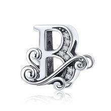 BAMOER gorąca sprzedaż 925 srebro alfabet literowy od A do Z wisiorki Z koralikami dopasowane bransoletki Z charmsami bransoletki biżuteria akcesoria BSC030(China)
