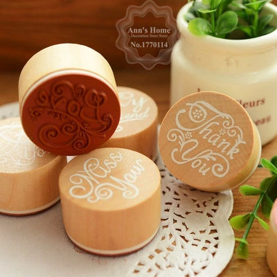 6 Styles Retro Style Assorted Vintage Pattern Round Wooden Rubber Stampe DIY Scrapbooking Kids Funny HomeWork Writing Love - Ann's Home Decoration Store store