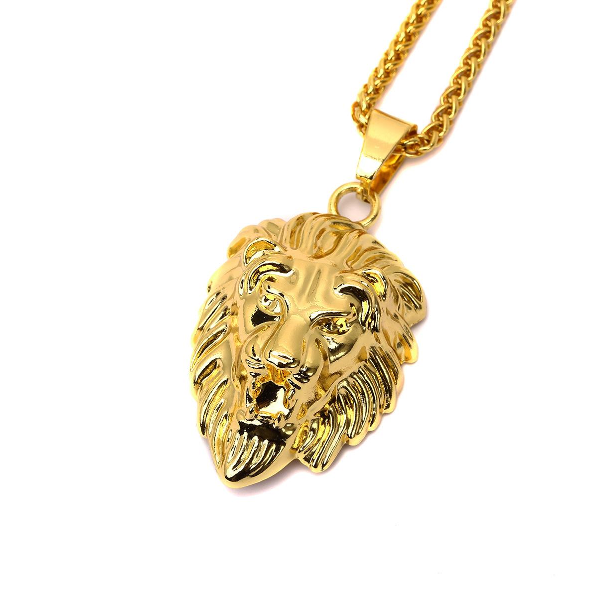 Hiphop Golden Lion Pendant Necklace 24k Gold Plated Lion Head Neclace Men Hip Hop Dance Charm Franco Chain Male N296(China (Mainland))