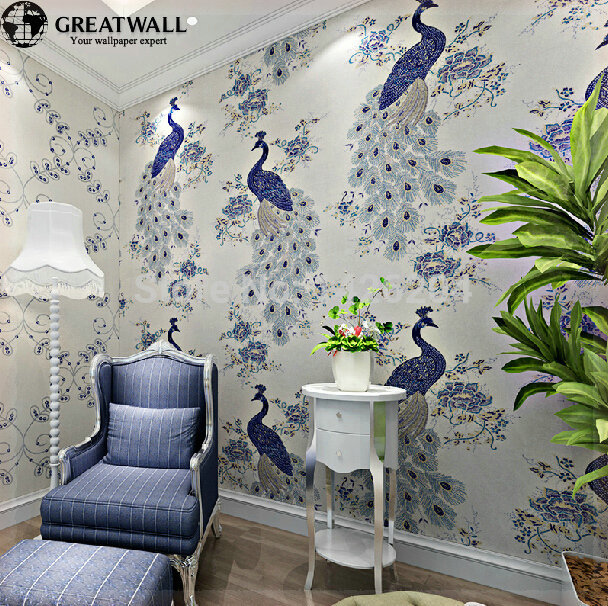 Great wall southeast asian chinese style non woven peacock for Oriental style wallpaper uk