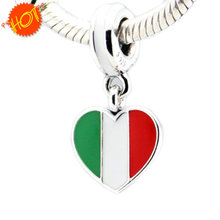 Fits Pandora Jewelry Bracelets 100% 925 Sterling Silver Beads Italy heart flag silver dangle with green white and red enamel DIY(China (Mainland))