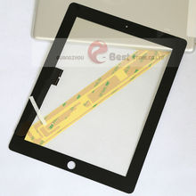 Touch Screen Glass Digitizer Assembly for iPad 3 with Glue Sticker Replacement Repair Parts free shipping 10pcs/lot(China (Mainland))