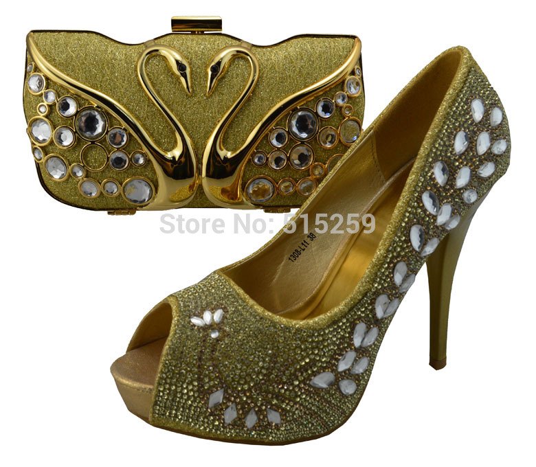 1307-L11-2 New fashion thin heels golden shoe and bag to match for African wedding and party(China (Mainland))
