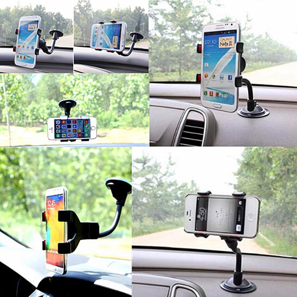 Car Auto Windshield Dashboard Dual Clip 360 Flexible Mount Holder Stand for iPhone 5S 6 6S Plus Samsung Galaxy S4 S5 S6 S7 Note(China (Mainland))