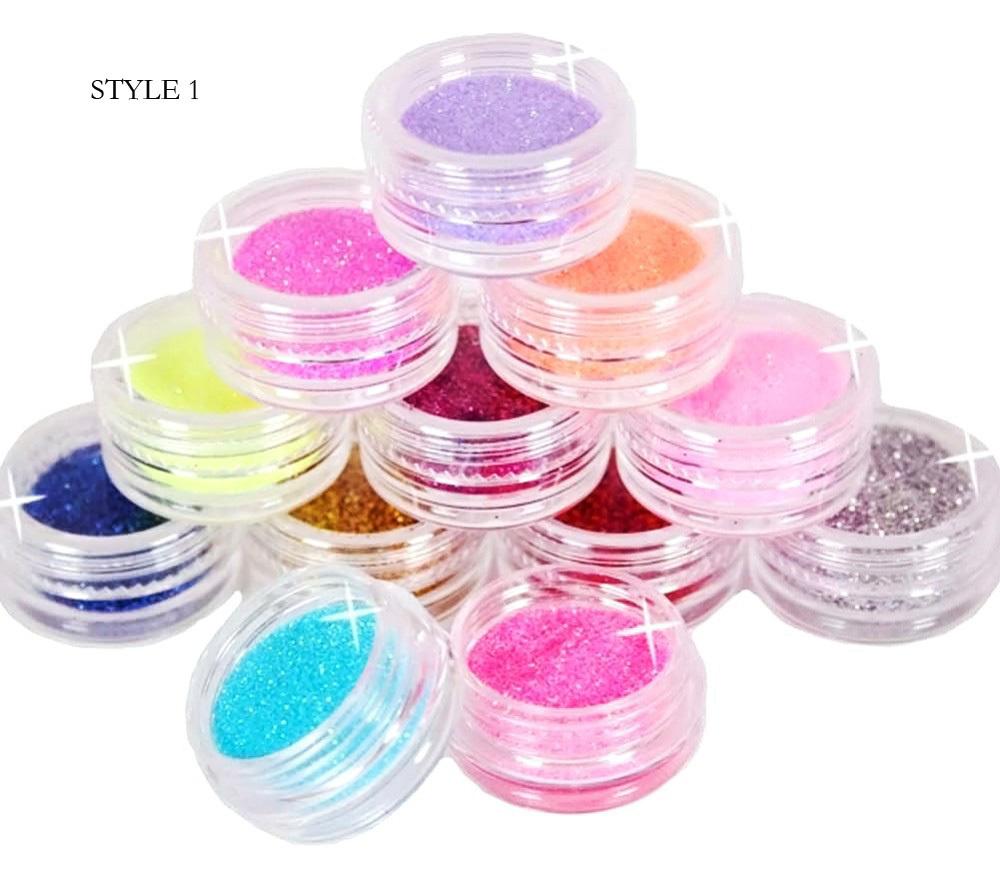 Fashion 12 Color Metal Glitter Nail Art Tool Kit Acrylic Powder Dust gem Polish Nail Tools M01090(China (Mainland))