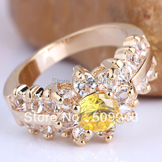6pcs Yellow Gold 6.0mm Round Cut Yellow Citrine Cocktail Ring for Women Size 8 GF J7514(China (Mainland))