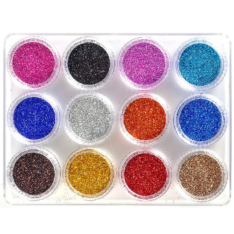 New 12 Colors Fashion nail glitter powder Decoration Laser reflective sequins fine Powder For Nail Art Tips M522(China (Mainland))
