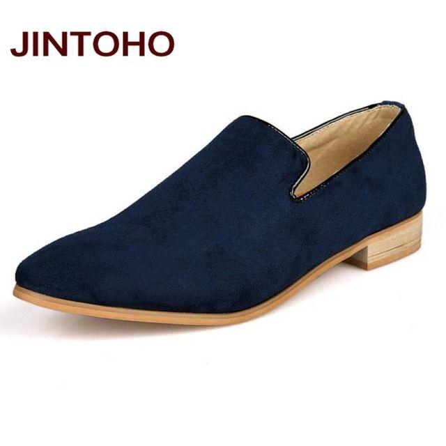 JINTOHO мода скольжения на мужчин бархатные туфли, Весенние и Осенние мужчины кожаные ...