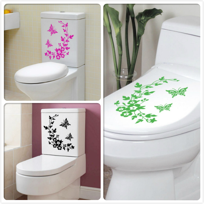 & Sections butterfly flower vine bathroom toilet stickers living room bedroom wall stickers waterproof removable 8519(China (Mainland))