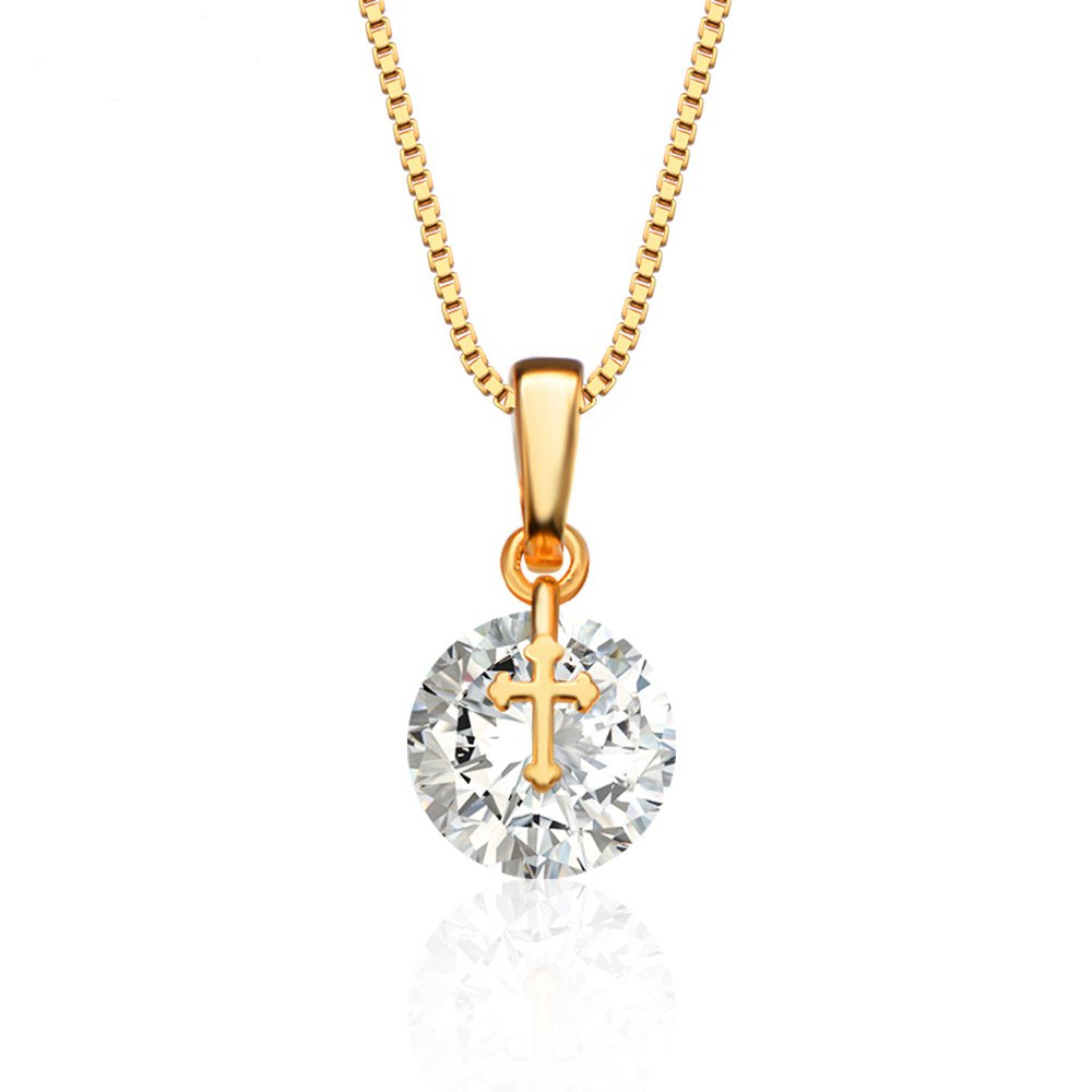 High Quality Lowest Price Ladies Copper Cross Design AAA Cubic Zirconia Embellished 18K Gold Plated Pendant Necklace for Women(China (Mainland))