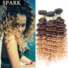 Buy Cheap 7A Brazilian Deep Wave Virgin Hair 3/4 Bundles Ombre Human Hair Wig Brazilian Deep Curly Hair Kinky Curly Virgin Hair LY12 for $34.99 in AliExpress store